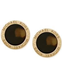 Michael Kors | Metallic Gold-Tone Logo-Etched Tortoise Disc Stud Earrings | Lyst