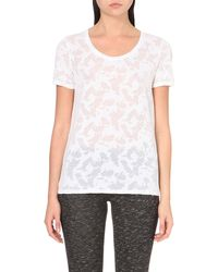 The Kooples - White Burn-out Jersey T-shirt - Lyst