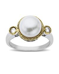 Lord & Taylor | Metallic Pearl Ring With 14 Kt Yellow Gold In Sterling Silver | Lyst