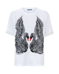 Alexander McQueen - White Embroidered Swan T-Shirt - Lyst