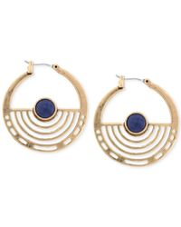 Lucky Brand - Metallic Gold-tone Blue Stone Hoop Earrings - Lyst