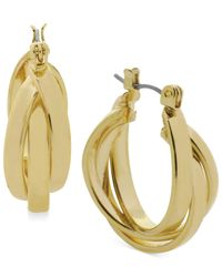 Kenneth Cole | Metallic Gold-tone Twisted Hoop Earrings | Lyst