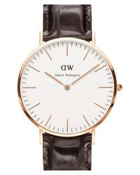 Daniel Wellington | Metallic 'classic York' Leather Strap Watch for Men | Lyst