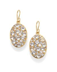 Elizabeth and James | Metallic Constance Pavé White Topaz Drop Earrings | Lyst