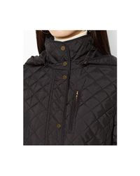 Lauren by Ralph Lauren - Black Quilted Faux-Suede-Trim Walker Coat - Lyst