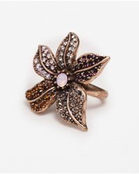 Zara | Metallic Crystal Flower Ring | Lyst