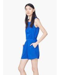 Mango - Blue Short Flowy Jumpsuit - Lyst