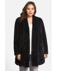 Kenneth Cole - Black 'Teddy Bear' Faux Fur Clutch Coat - Lyst