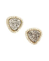 Marcia Moran | Metallic Triangle Drusy Stud Earrings | Lyst