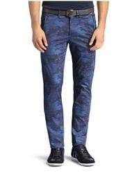 BOSS Green - Blue 'leeman Print-w' | Slim Fit, Stretch Cotton Blend Pants for Men - Lyst