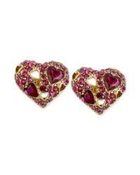 Betsey Johnson | Metallic Crystal Heart Stud Earrings | Lyst