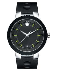 Movado - Black Rubber Bezel Rubber Strap Watch for Men - Lyst