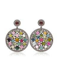 Bavna | Multicolor Sterling Silver Double Round Drop Multi Tourmaline And Champagne Rosecut Diamond Earring | Lyst