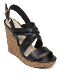 Jessica Simpson | Black Julita Leather Wedges | Lyst