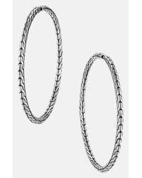 John Hardy | Metallic 'classic Chain' Large Hoop Earrings - Sterling Silver | Lyst