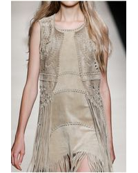 Alberta Ferretti | Gray Hippy Fringe Dress | Lyst