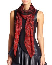 Alexander McQueen - Red Butterfly Flight Silk Shawl - Lyst