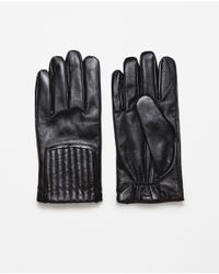 Zara | Black Gathered Detail Leather Gloves for Men | Lyst