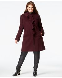 DKNY - Purple Plus Size Ruffle-front Walker Coat - Lyst