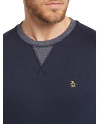 Original Penguin | Blue Long Sleeve Marshall Sweat for Men | Lyst