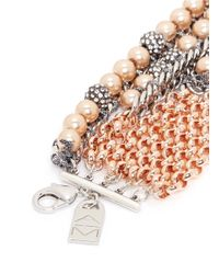 Assad Mounser - Metallic 'moonage Daydream' Glass Pearl Crystal Pavé Bracelet - Lyst