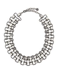 R.j. Graziano | White Crystal & Chain Collar Necklace | Lyst