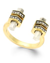 House of Harlow 1960 - Metallic Gold-Tone Crystal Bar Open Ring - Lyst