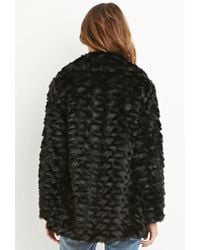 Forever 21 | Black Contemporary Faux Fur Coat | Lyst