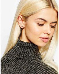 Monki - Metallic Circular 2 Pack Earrings - Lyst