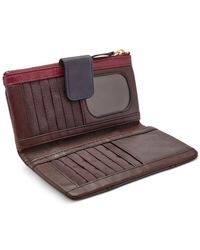Fossil - Red Emory Leather Clutch Wallet - Lyst