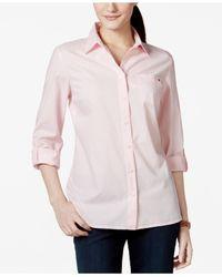 Tommy Hilfiger   Pink Cotton Roll-tab Shirt   Lyst