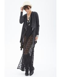 Forever 21 - Black Marled Open-front Cardigan - Lyst