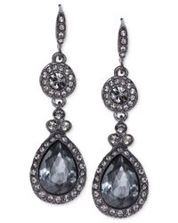 Givenchy | Light Hematite-Tone Black Crystal Teardrop Earrings | Lyst