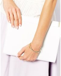 ASOS - Metallic Fine Cross Bangle Bracelet - Lyst