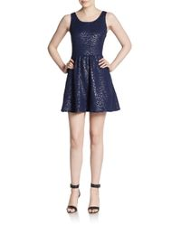 Saks Fifth Avenue | Blue Rose Embossed Scoopneck Fit-and-flare Dress | Lyst