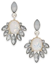 Style & Co. - Style&co. Silver-tone White Small Palm Leaf Casted Drop Earrings - Lyst