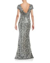Calvin Klein - Gray Sequined Floral Gown - Lyst