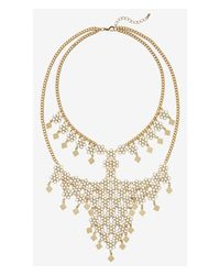 Express | Metallic Flower Filigree Bib Necklace | Lyst