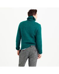 J.Crew - Green Italian Wool Cable Turtleneck Sweater for Men - Lyst