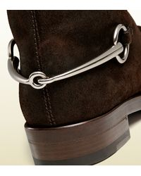 Gucci - Brown Suede Horsebit Ankle Boot for Men - Lyst