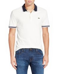 Lacoste - Green 'fancy' Tipped Stretch Pique Polo for Men - Lyst