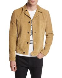 Saint Laurent - Natural Button-down Suede Jacket for Men - Lyst