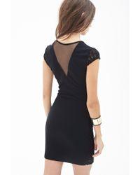 Forever 21 - Black Cutout Scuba Knit Dress - Lyst