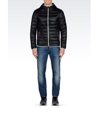 Armani Jeans   Black Hooded Down Jacket In Technical Fabric for Men   Lyst
