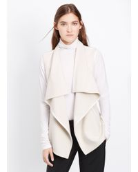 Vince - White Wool Blend Drape Neck Vest With Leather Trim - Lyst