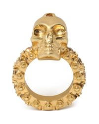 Alexander McQueen - Metallic Jewelled Skull Ring - Lyst