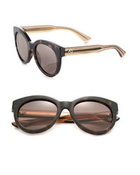 Gucci - Brown Chunky 53mm Round Sunglasses - Lyst