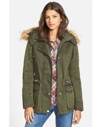 Guess | Green Hooded Cotton Field Jacket With Faux Fur Trim | Lyst