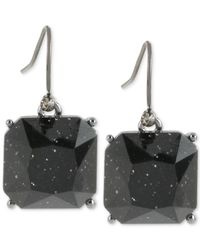 Kenneth Cole - Hematite-tone Sparkle Black Stone Drop Earrings - Lyst