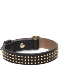 Alexander McQueen | Black Studded Leather Wrap Skull Bracelet | Lyst